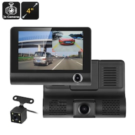 Car DVR Kit - 3 Cameras, G-Sensor, Loop Recording, Rear View Parking Cam, 4-Inch Display,  32GB SD Card Slot