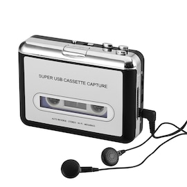 Cassette Tape-to-MP3 Converter - Plug and Play, Win + Mac Compatible, Auto Reverse, Audacity Audio Software Silver/Black