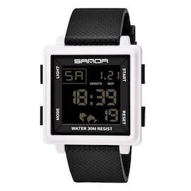 Classic Fashion Atmosphere Men Watches LED Display Square Black