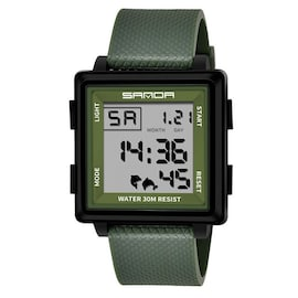 Classic Fashion Atmosphere Men Watches LED Display Square Green