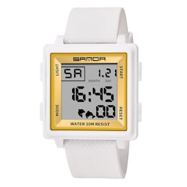 Classic Fashion Atmosphere Men Watches LED Display Square White