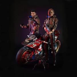 Cyberpunk 2077 Action Figure - V Female, Male & Yaiba Kusanagi Set - Black