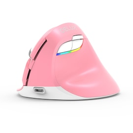 Delux M618 Mini Pink Pionowa ergonomiczna myszka bezprzewodowa RGB