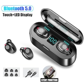 Earbuds Wireless Earphones for Phone with Mic Black TWS F9 Bluetooth 5.0 Black