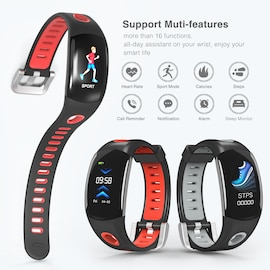 Fitness Tracker Bracelet- Heart Rate Monitor, Distance Counter, Pedometer, IP68.Waterproof Red