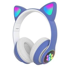 Flash Light Cute Cat Ears Bluetooth Wireless Headphone with Mic Blue