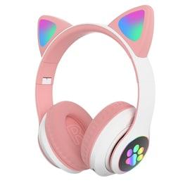 Flash Light Cute Cat Ears Bluetooth Wireless Headphone with Mic Pink