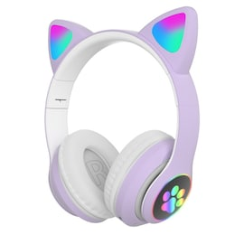 Flash Light Cute Cat Ears Bluetooth Wireless Headphone with Mic White