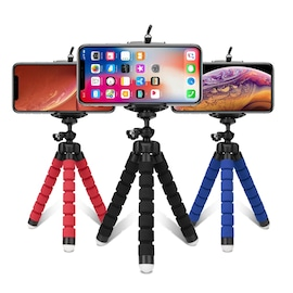 Flexible Sponge Octopus Mini Tripod With Wireless Remote Shutter For iPhone 11 Xiaomi Phone Holder Blue