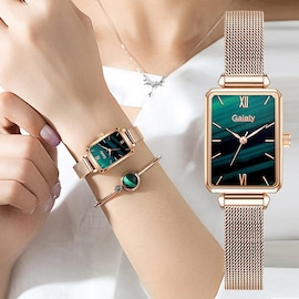 For princesses Women Fashion Quartz Watch Bracelet Set Green Dial Luxury Women Watches Simple Rose Gold Mesh Ladies Watc Green