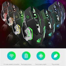 Free Wolf X8 Rechargeable Wireless Silent LED Backlit Gaming Mouse USB Optical Mouse for PC Black N/A