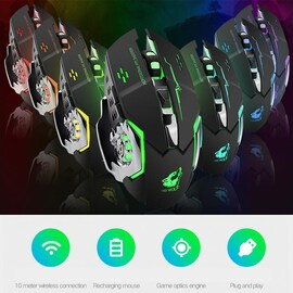 Free Wolf X8 Rechargeable Wireless Silent LED Backlit Gaming Mouse USB Optical Mouse for PC White N/A