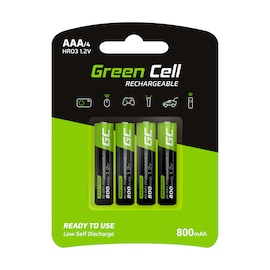GC® 4x AAA batteries rechargeable 800mAh HR03 Green Cell