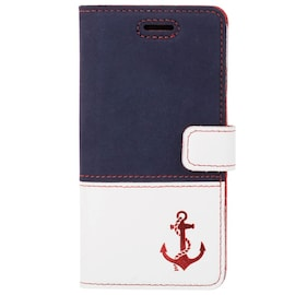 Google Pixel 5- Surazo® Phone Case Genuine Leather- Navy blue and Pastel porcelain - Anker red