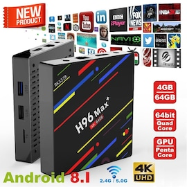 H96 Max + TV Box K17.6 HD Smart Network Media Player - 4GB RAM, 32GB ROM, Android 8.1, US PLUG