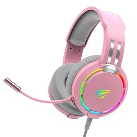 Havit Professional RGB Headset With Mic Switch for Computer, PS4, Xbox, phone Pink