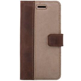 Huawei Y6 (2018)- Surazo® Phone Case Genuine Leather- Nubuck Nut and Beige