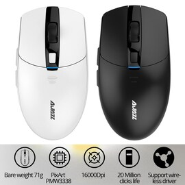 i303Pro Gaming Wireless Mouse 16000DPI 6 Colors LED Light For Laptop Pc Computer Black