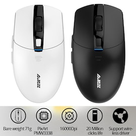 i303Pro Gaming Wireless Mouse 16000DPI 6 Colors LED Light For Laptop Pc Computer White