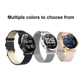 IP67 Waterproof Smart Watch Fitness Tracker Heart Rate Blood Pressure Monitor Tempered Mirror Sliver Black