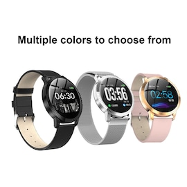 IP67 Waterproof Smart Watch Fitness Tracker Heart Rate Blood Pressure Monitor Tempered Mirror Sliver Pink