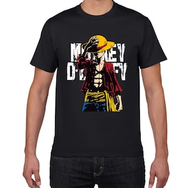 Japanese Anime Luffy Cotton Tshirt men loose casual top, one piece L Black