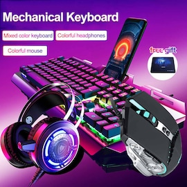 Keyboard, Mouse and Headset Earphone Three-piece and phone holder part