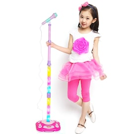 Kids Karaoke Stand Microphone Toys Adjustable Cool Music Microphone Toy Connect Mobile Phone