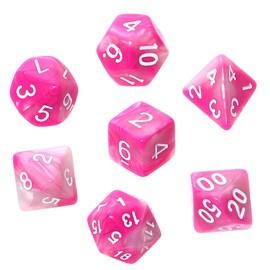 Komplet kości REBEL RPG - Dwukolorowe - Różowo-białe (białe cyfry)