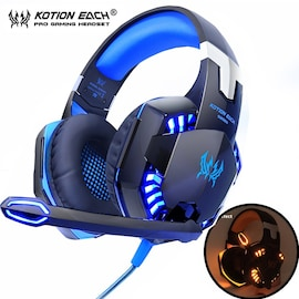 Kotion Each G2000 LED Headset with Microphone for PS4 Xbox Nintento Switch PC Laptop Black