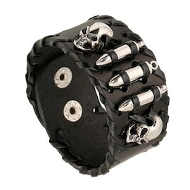 Leather Bracelet Adjustable Wristband with Steel Skull Bullet Rivet Cuff