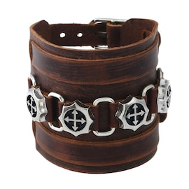 Leather Bracelet Wristband Alloy Buckle  Skull Punk Rock Cowhide in Brown