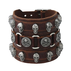 Leather Wristband Bracelet Skull Copper Bangle