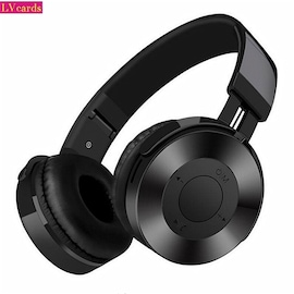 LVcards 02 HIFI stereo bluetooth headset support 32/64GB TF headphones with microphone for PC/Phones Black
