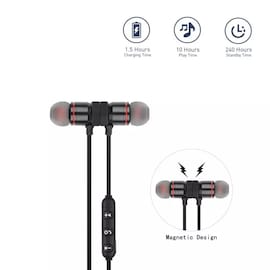 Magnetic Bluetooth Earphones Stereo Handsfree Headband with Mic for All Smart Phones Black