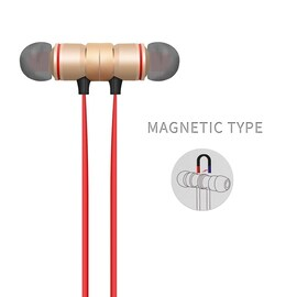 Magnetic Bluetooth Earphones Stereo Handsfree Headband with Mic for All Smart Phones Gold