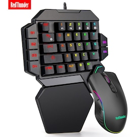 Mechanical RGB Combo Mini Gaming Keyboard and Mouse For PC Playstation Xbox Gamers Black