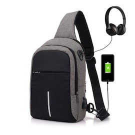 Men Canvas Bags Casual Chest Bag External USB Interface Charging Smart Small Backpack  Black
