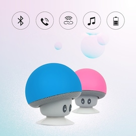 Mini Portable Cute Mushroom Head Bluetooth Speaker Wireless Stereo Speaker with Suction Cup Black