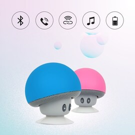 Mini Portable Cute Mushroom Head Bluetooth Speaker Wireless Stereo Speaker with Suction Cup Light Blue