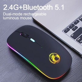 Mini Wireless Keyboard And Mouse RGB Bluetooth Keyboard Mouse Set Backlight Russian Keyboard For Computerx Phone Tablet  Black