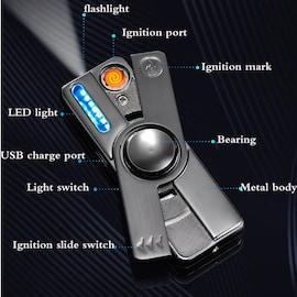 Multifunction LED Hand Spinner 2021 Electric Lighter Plasma Flameless Electronic Cigarette Lighter USB Windproof Recharg