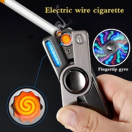 Multifunction LED Hand Spinner Electric Lighter Plasma Flameless Electronic Cigarette Lighter USB Windproof Rechargeable