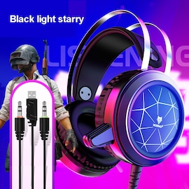 N1 3.5mm USB Stereo wired gaming headphones game headset over ear RGB with mic Voice control with lights