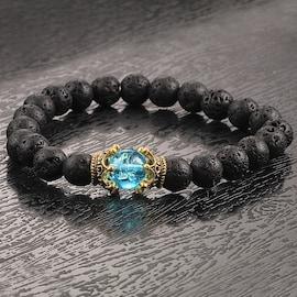 Natural Beaded Bracelet Men Antique High Quality Crown 8mm Lava Stone Bracelets  Banglesx Jewelry Accessories  Black