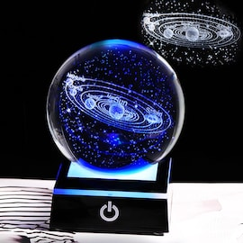 Newx K9 Crystal Solar System Planet Globe 3D Laser Engraved Sun System Ball with Touch Switch LED Light Base Astronomy G