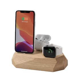 Oakywood - Triple Dock - iPhone, Apple Watch & AirPods - Oak