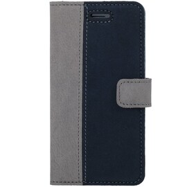 OnePlus 7T Pro- Surazo® Phone Case Genuine Leather- Nubuck Gray and Navy Blue
