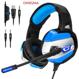 ONIKUMA K5 3.5mm LED Light Stereo Gaming Headset with Mic for Pc/Xbox one/PS4 Blue