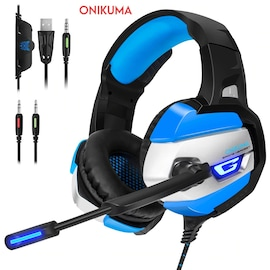 ONIKUMA K5 3.5mm LED Light Stereo Gaming Headset with Mic for Pc/Xbox one/PS4 Gray